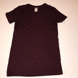 PINK burgundy v neck T short sleeve
